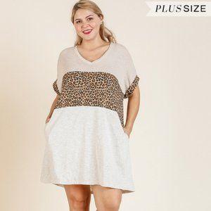 Umgee Plus Oatmeal Mix Animal Colorblock Dress